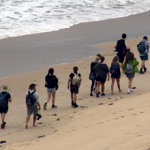 Students walking along on Ocean Walk March 2019