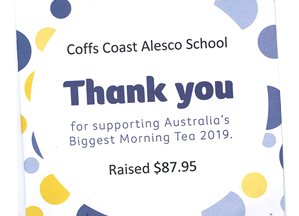 Biggest Morning Tea Thank for Coffs Coast Alesco School